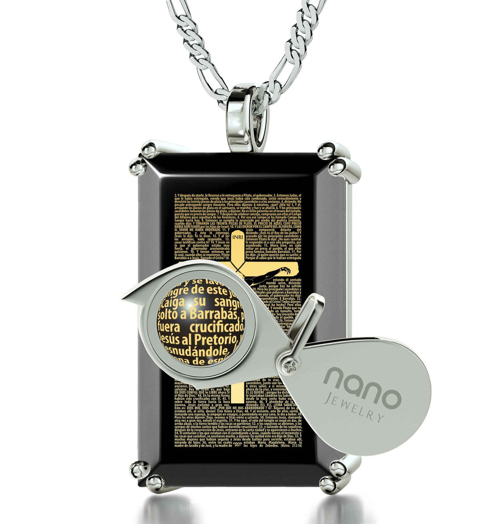 """Matthew27:2-56EngravedinSpanish, BestGifts for TeenBoys, MensChristianJewelry, OnyxNecklace, NanoJewelry"""