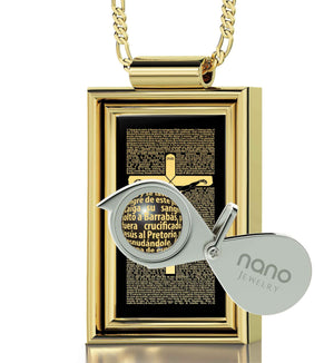 """Matthew27:2-56Engraved in Spanish, GoodGifts for Boyfriend, Present for Husband, ReligiousPendants, NanoJewelry"""