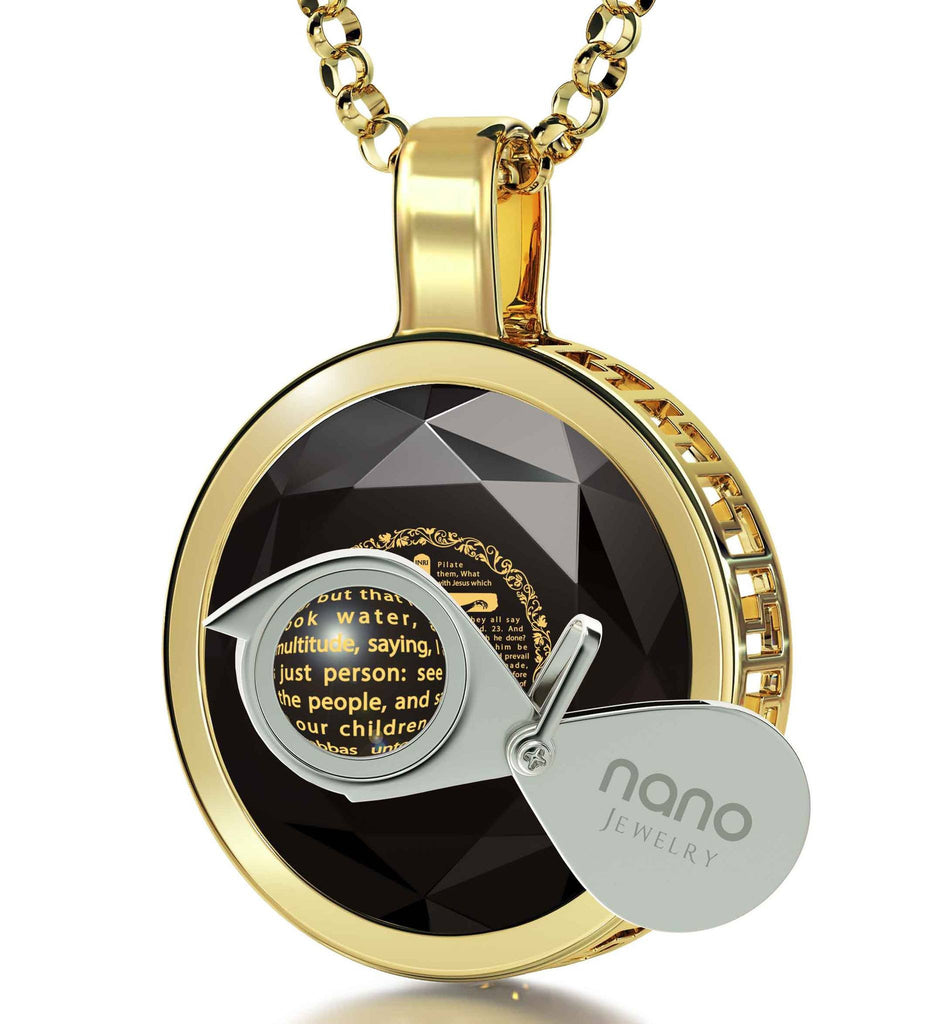 """Matthew27Engraved in Pendant, ChristianGiftItems, ChristmasPresents for Teenagers, BlackStoneNecklace, NanoJewelry"""