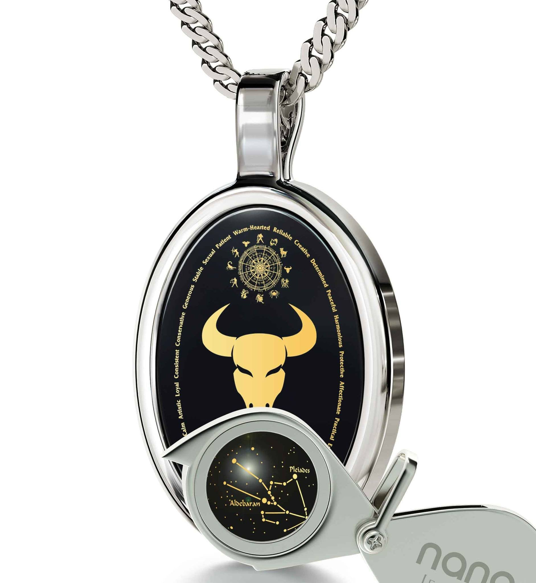 Mens Gifts for Birthday: Taurus Characteristics Male, Mens 14k White Gold Necklaces, Good Christmas Presents for Boyfriend by Nano Jewelry
