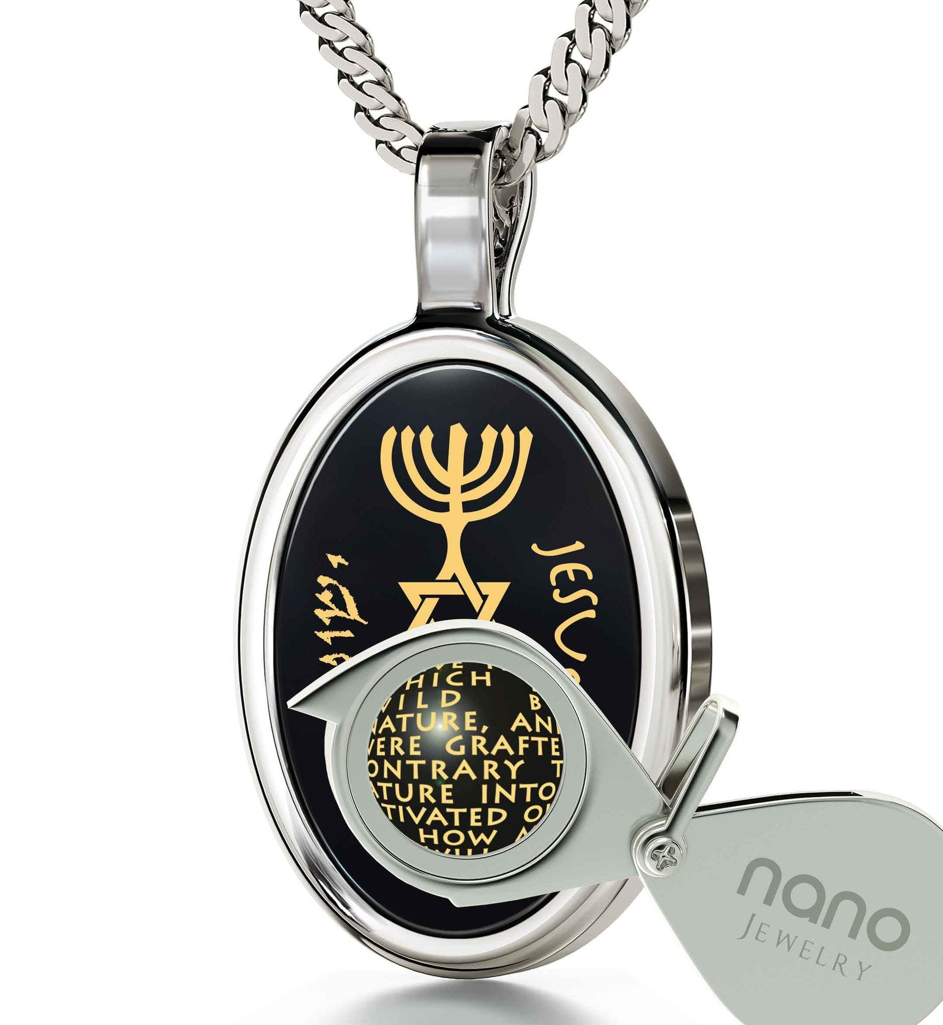 """Messianic Jewelry With Romans 11:24-27 Written Imprint, Christmas Present Ideas for Best Friend, Christian Gift Items, Black Stone Necklace """