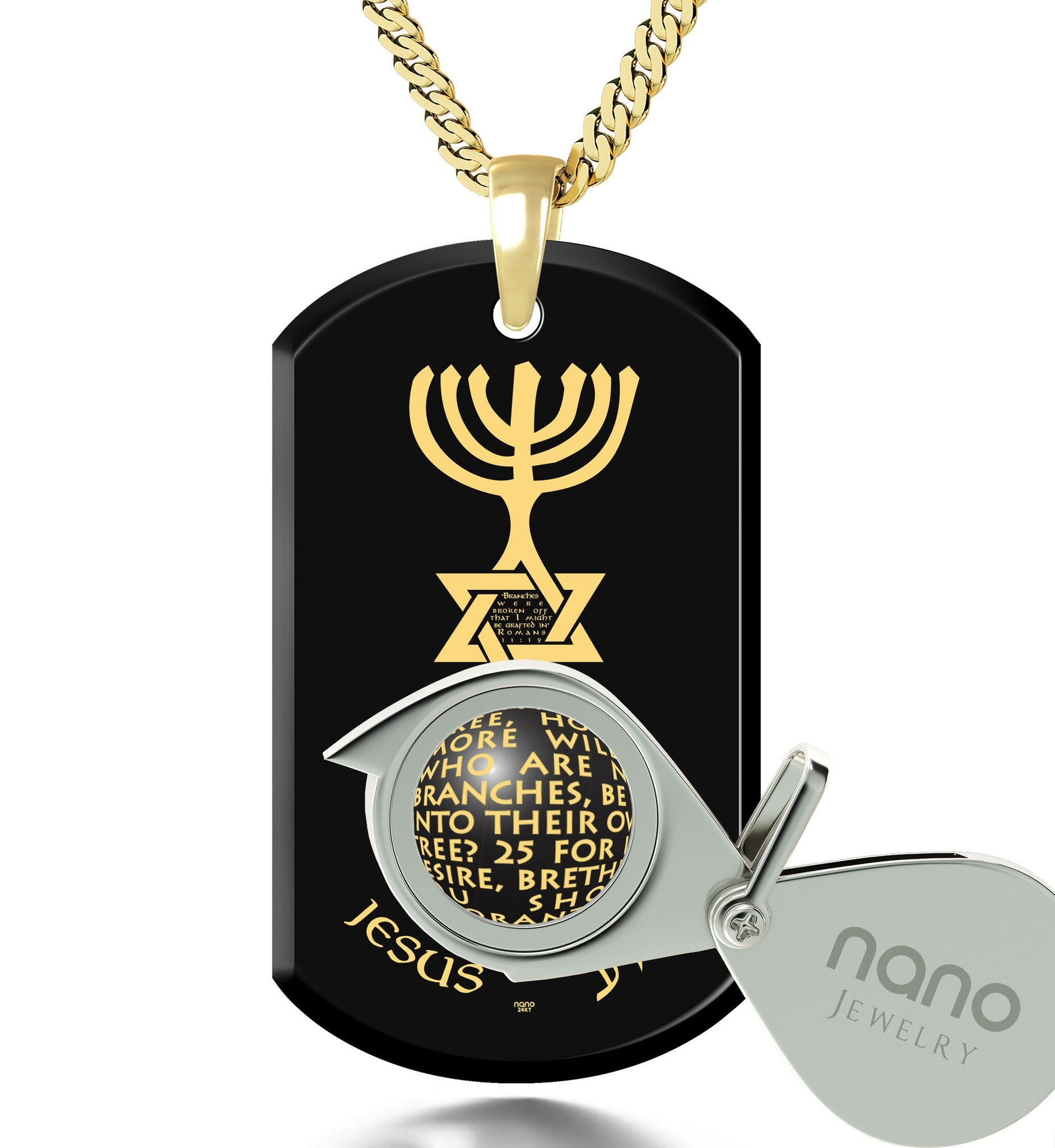 """Messianic Jewelry With Romans 11:24-27 Written Imprint, Cool Mens Necklaces, Good Gifts for Guys, Christian Pendants"""