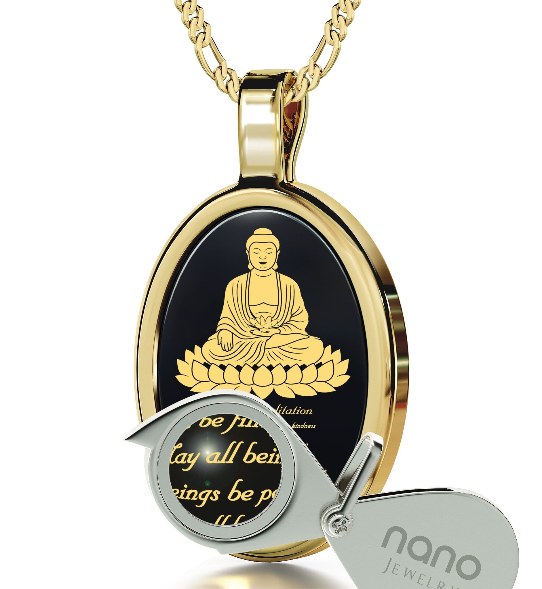 """MettaBuddhaEngraved in 24k, MeditationJewelry with BlackOnyxPendant, BuddhaGifts, NanoJewelry"""