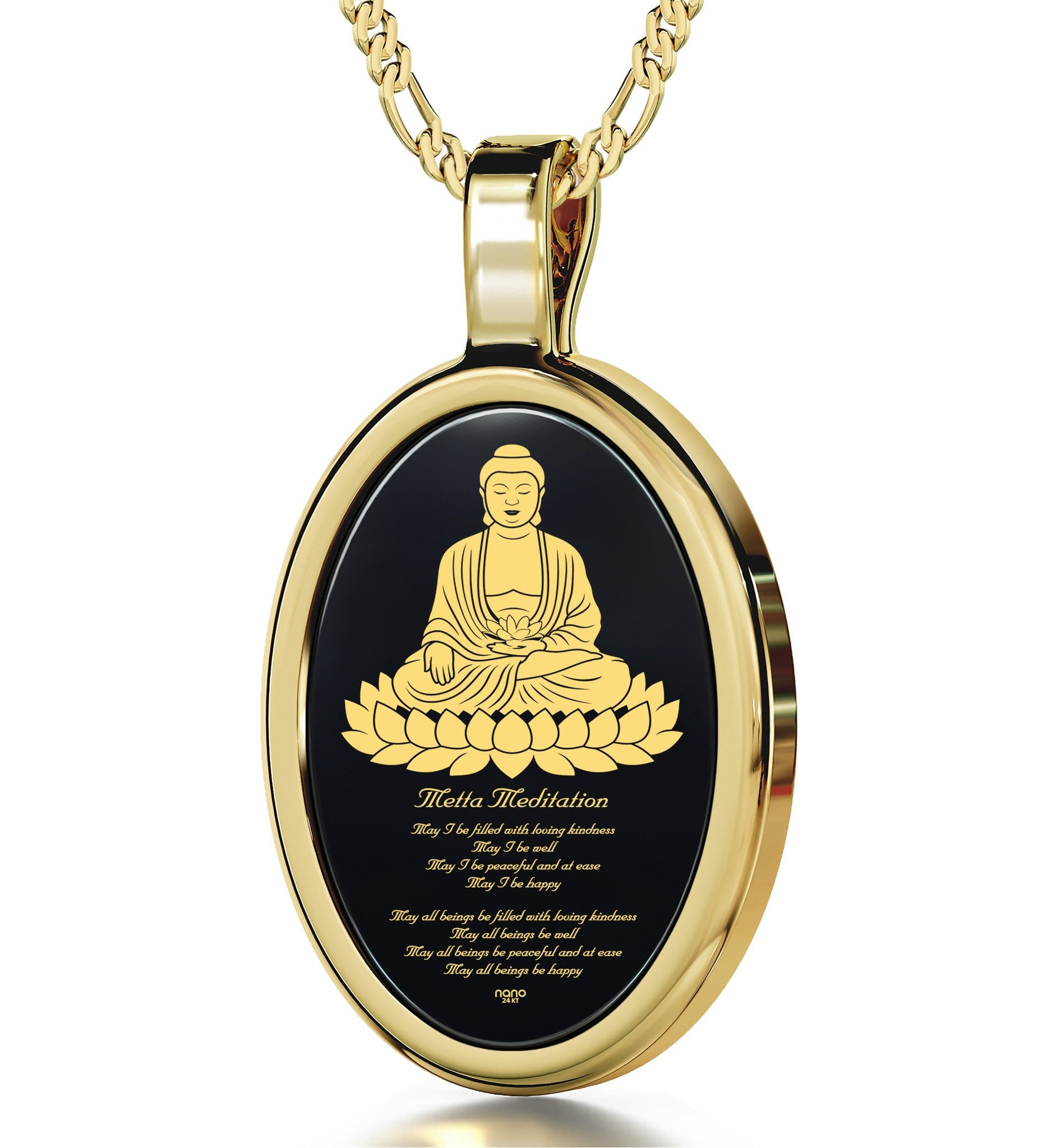 """MettaBuddhaEngraved in 24k, MeditationNecklace with BlackOnyxPendant, BuddhistJewellery, NanoJewelry"""