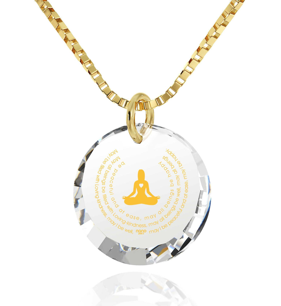 """Kindness Meditation"", 24k Gold Plated Necklace, Cubic Zirconia"