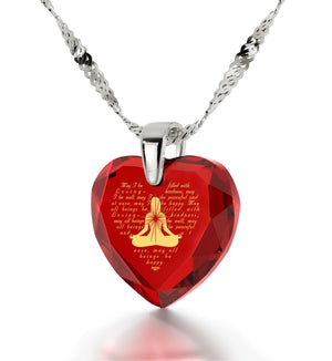 Metta Woman Engraved in 24k, Buddha Necklace with Ruby Stone, Spiritual Jewelry, Red Heart Necklace