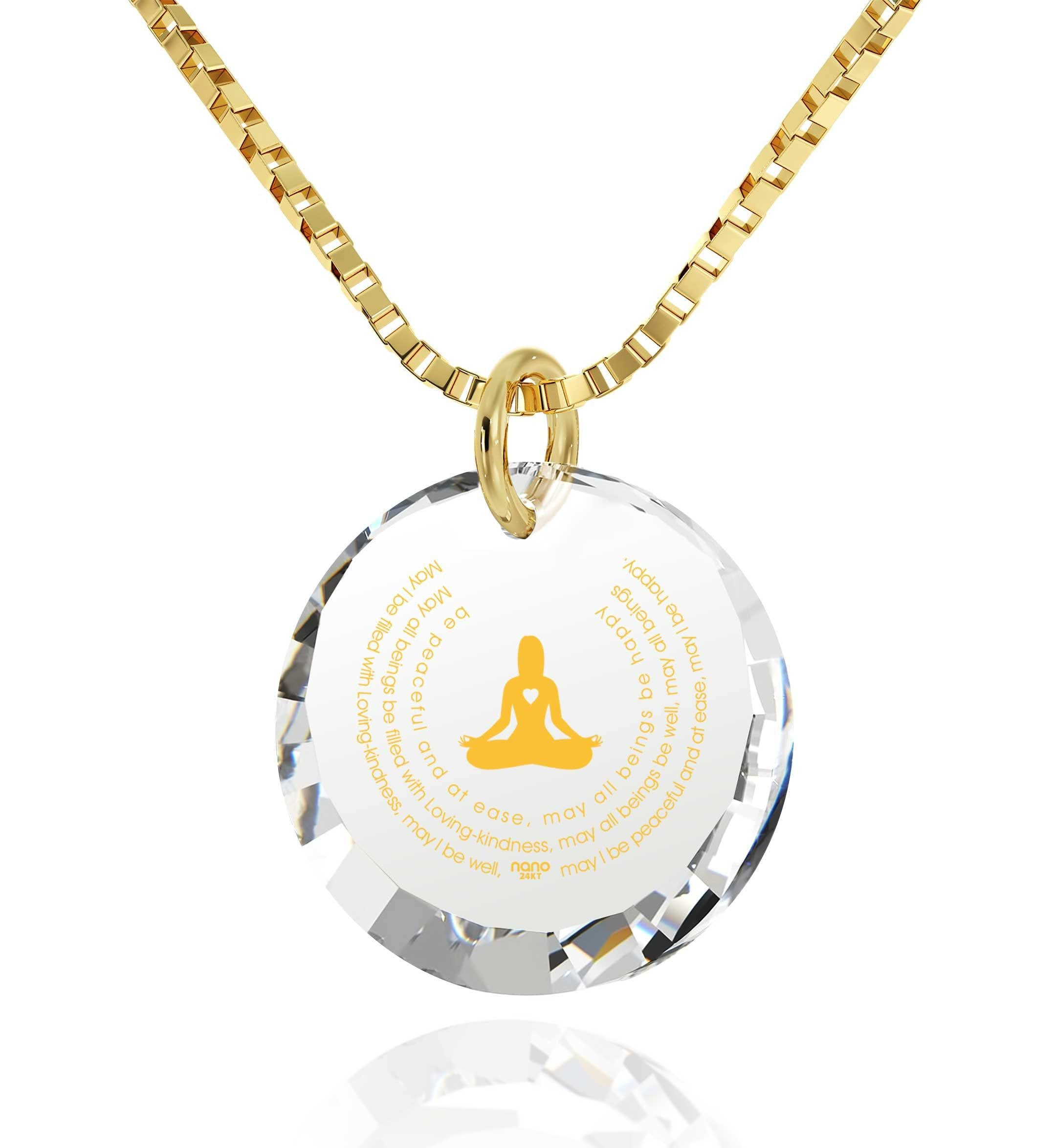 """MettaWomanEngraved in 24k, BuddhaNecklace with CrystalStone, Gifts for Meditation, 14KaratGoldNecklace"""