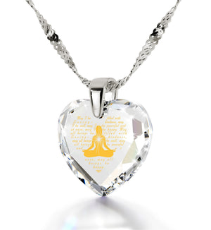 Metta Woman Engraved in 24k, Buddhist Jewellery with Swarovski Crystal Stone, Spiritual Shop, Heart Necklaces for Women