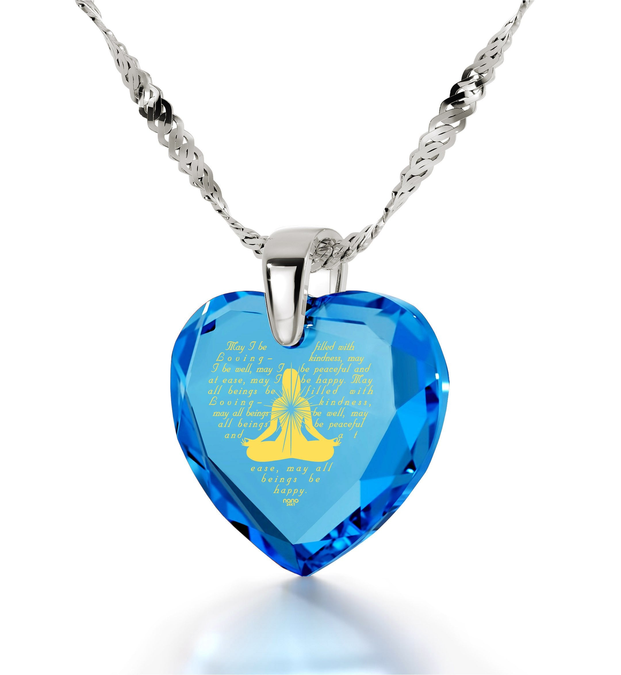 Metta Woman Engraved in 24k, Buddhist Store with Blue Topaz Jewelry, Meditation Necklace, Nano Jewelry