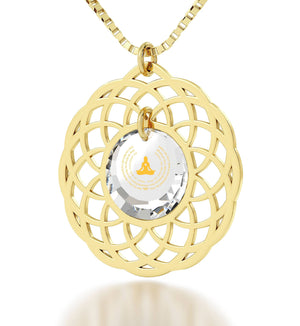 """MettaWomanEngraved in 24k, BuddhistStore with CZ Stone, MeditationGifts, MandalaNecklace"""