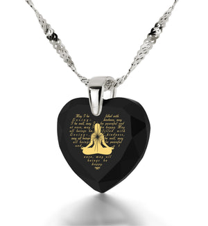 Metta Woman Engraved in 24k, Meditation Jewelry with Black Onyx Stone, Meditation Gifts, Nano Jewelry