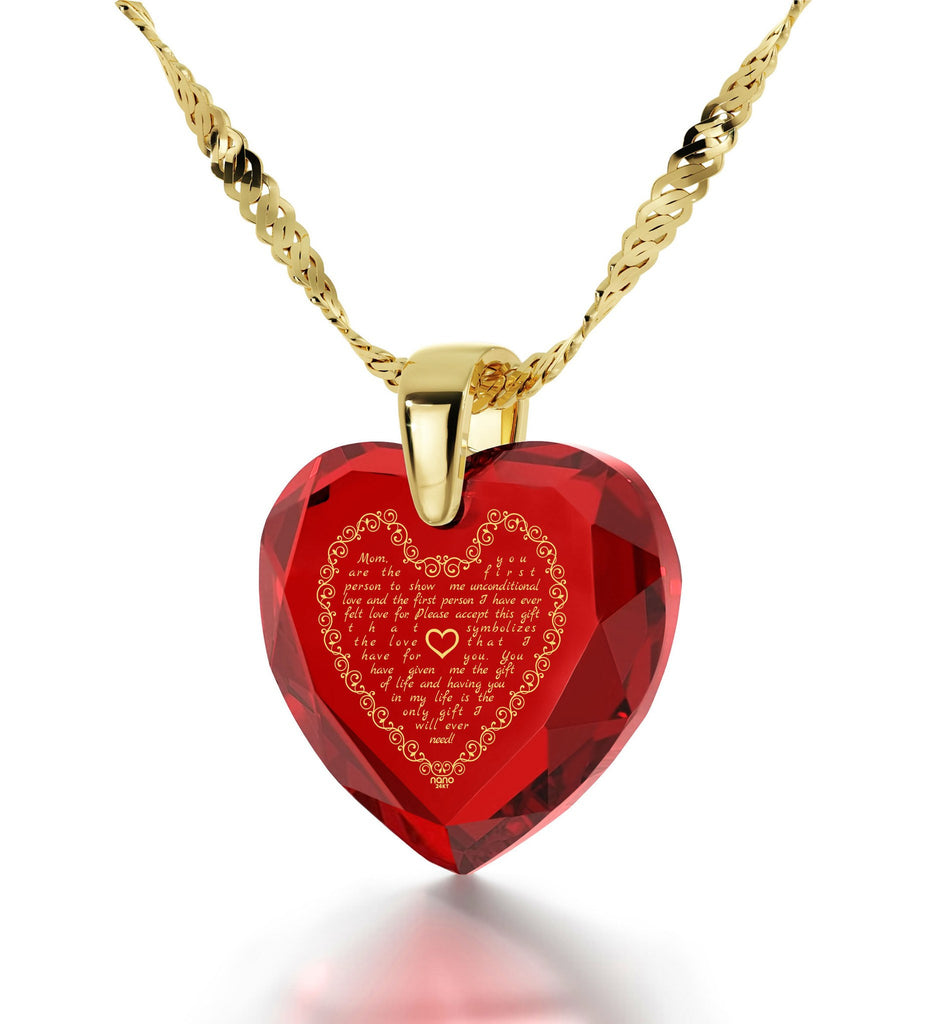 Mom Birthday Gifts: Mothers Jewelry with CZ Heart Shaped Stone, Unusual Christmas Presents, By Nano
