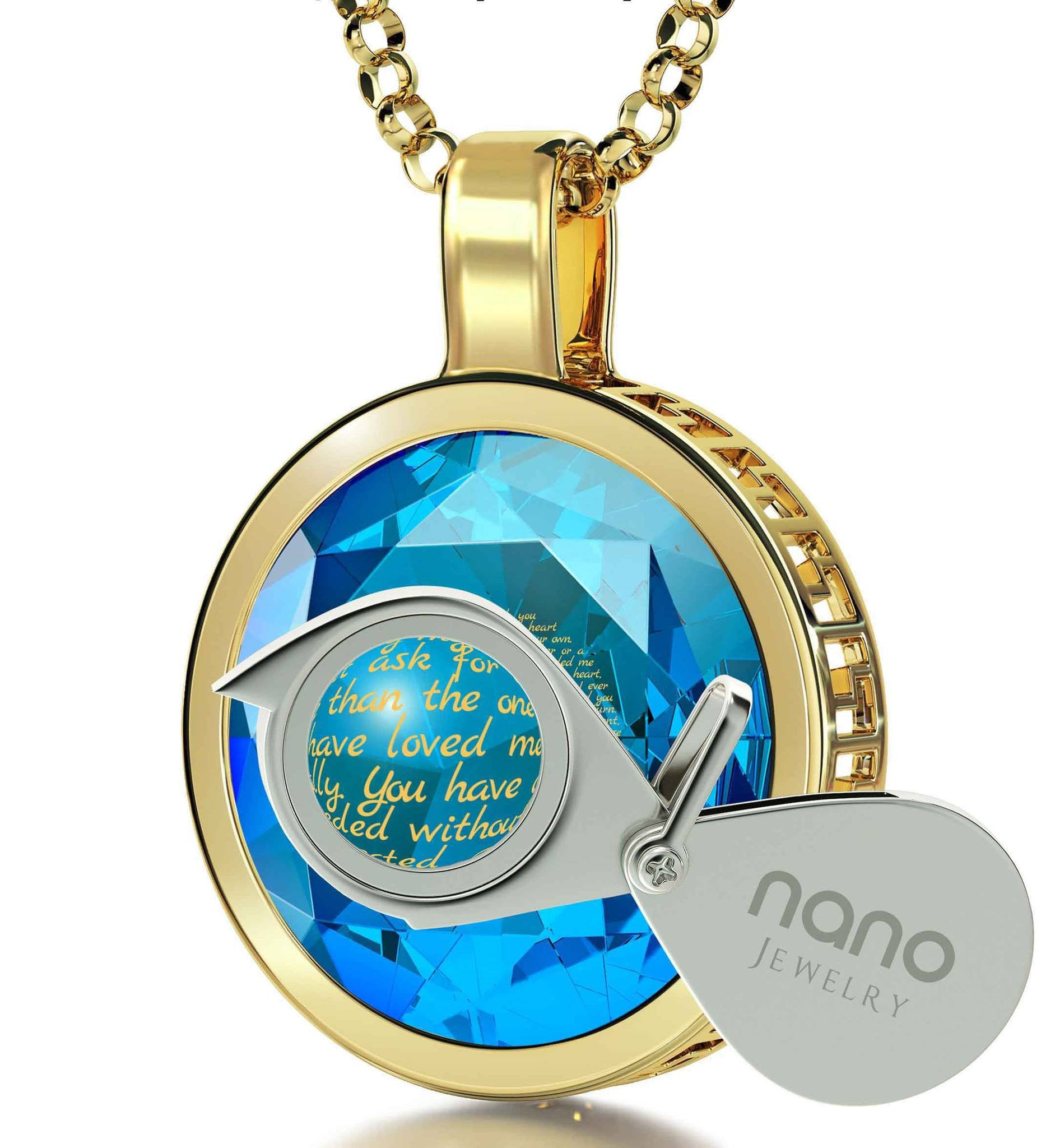 Mother's Day Gift Ideas, 24k Engraved Jewelry, Necklaces for Mom, by Nano