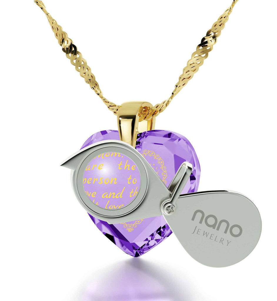 Mothers Necklace, Top Gifts for Moms, Engraved in 24k Gold, Unusual Christmas Presents, by Nano Jewelry