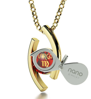 """Necklace With Virgo Zodiac Imprint, Best Valentine's Day Gifts for Her, Birthday Present for Wife, Ruby Jewelry """