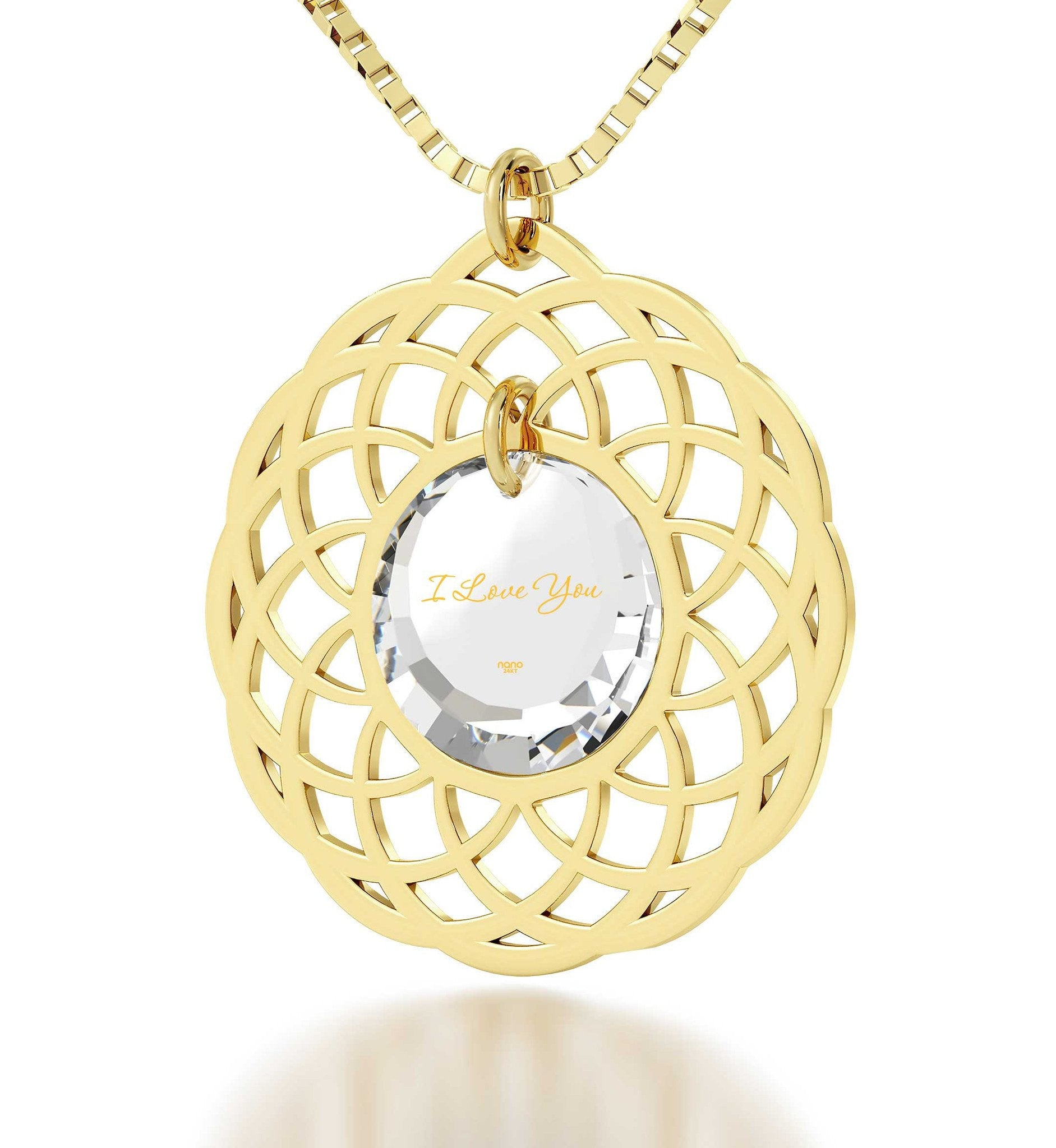 Cute Necklaces for Her, Gold Filled Mandala Frame, Best Presents for Girlfriend, Nano Jewelry