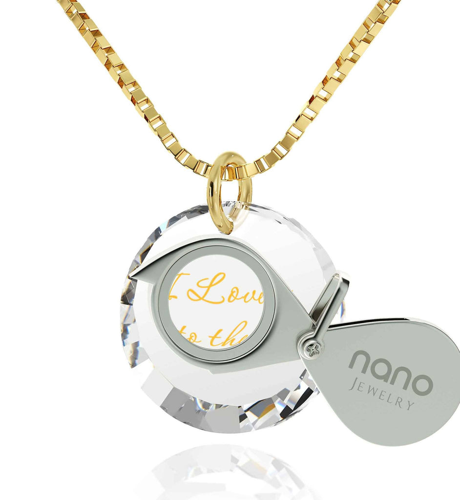 "Cute Presents for Girlfriend, ""I Love You to The Moon and Back"" Imprint, Love Gifts for Wife, Nano Jewelry"