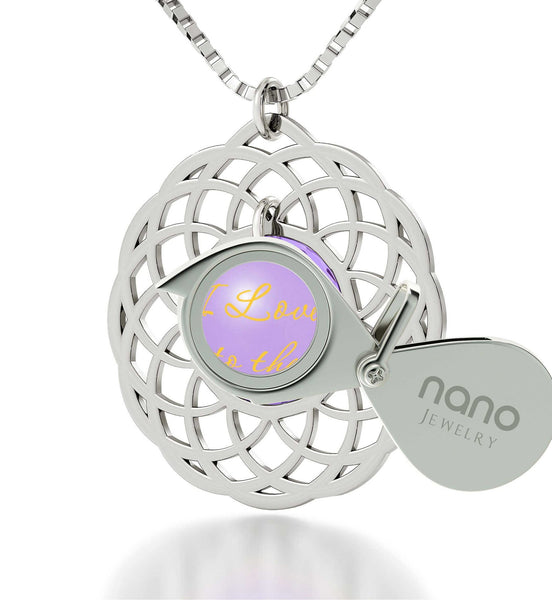 Good Presents for Girlfriend,Sterling Silver Necklace Mandala, I Love You to The Moon and Back Jewelry, Nano