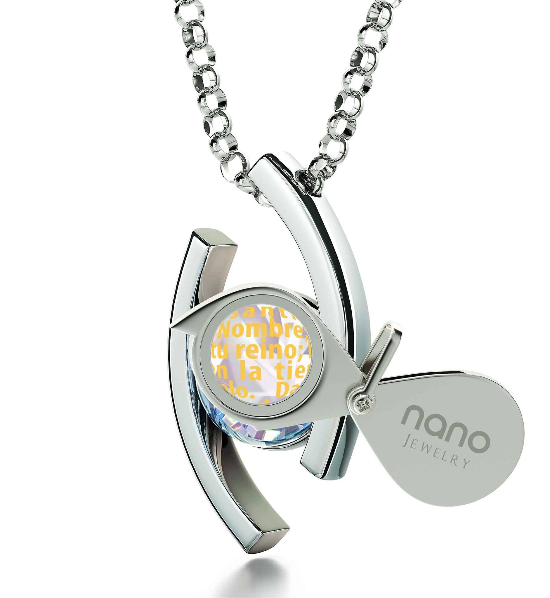 """Lord's Prayer Pendant on Sterling Silver Chain, Father Daughter Necklace, Cool Presents for Christmas, Nano Jewelry"""