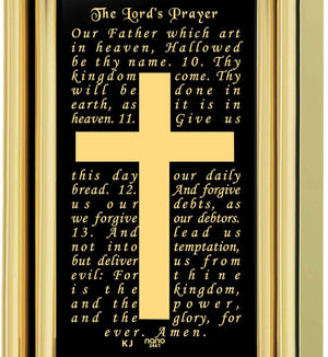"""Our Father: Gold Cross Pendant, Mens Birthday Present Ideas,Christian Gifts for Men, Nano  Jewelry"""