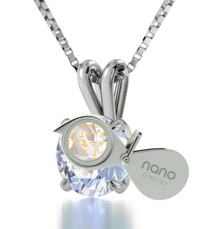 """""Our Father"" in Aramaic, Cool Presents for Christmas, Religious Gifts for Women, Single Diamond Necklace, by Nano Jewelry"""