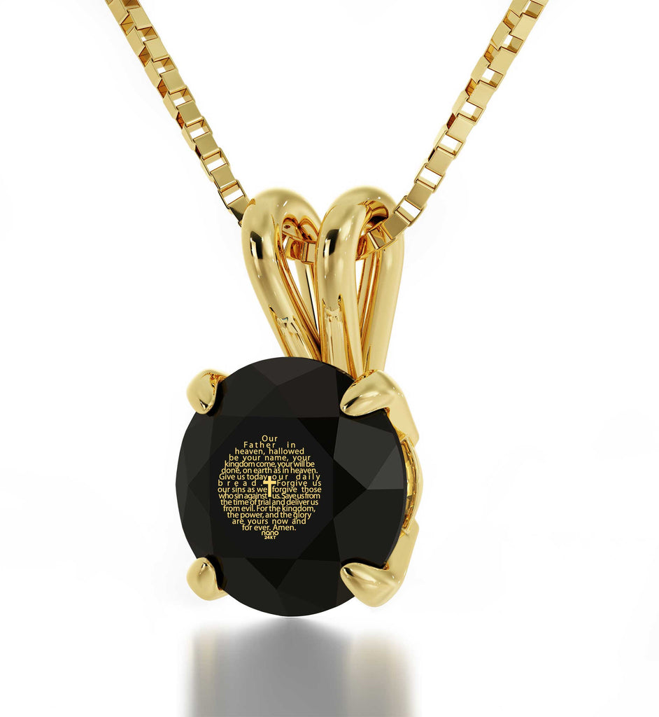 """Lord's Prayer in 24k Imprint, What to Get Mom for Her Birthday, Best Gift for Wife, Engraved Necklaces"""