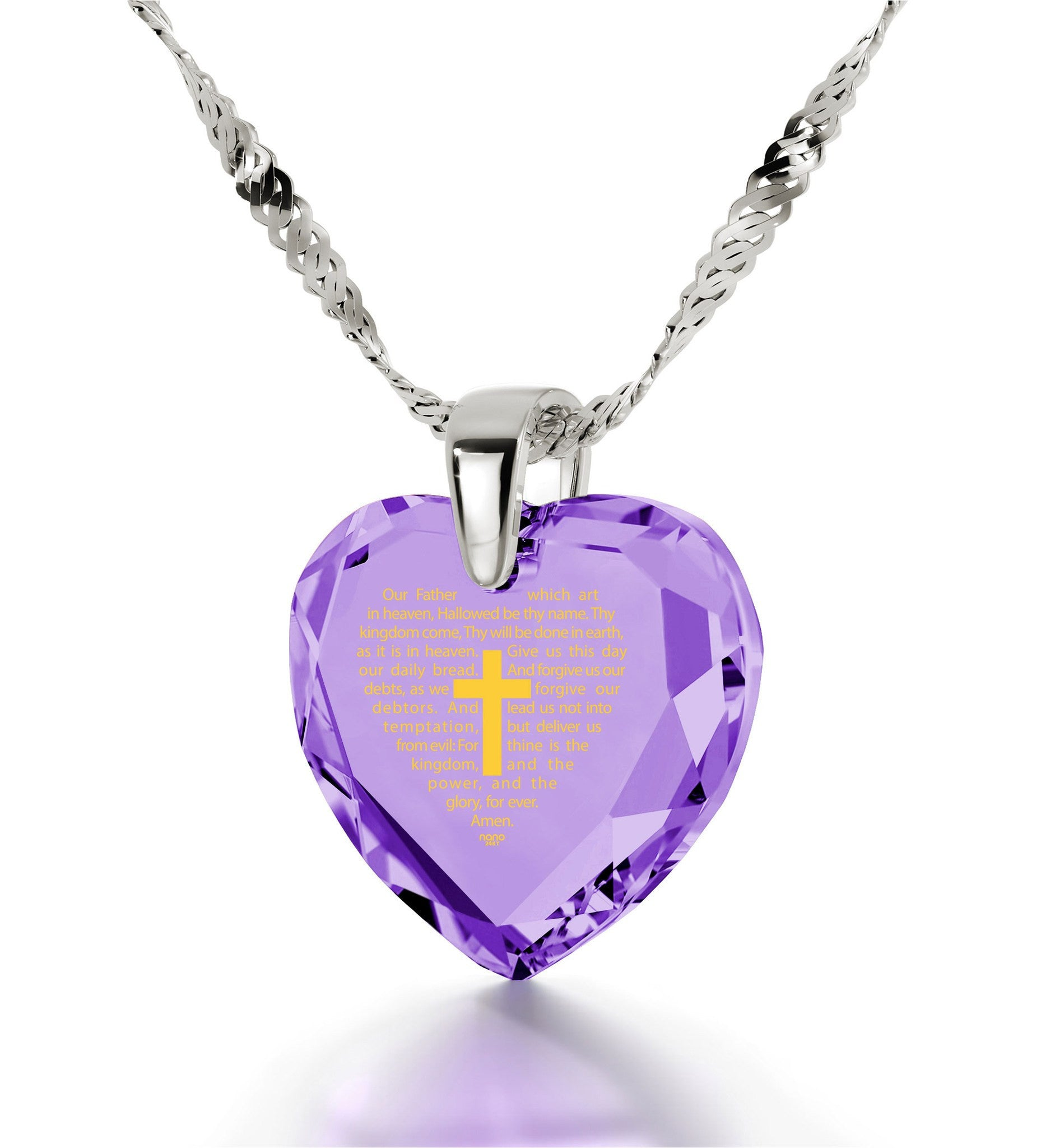 """Our Father: 14k White Gold Chain with Pendant, What to Get Mom for Her Birthday, Gifts for Catholics """