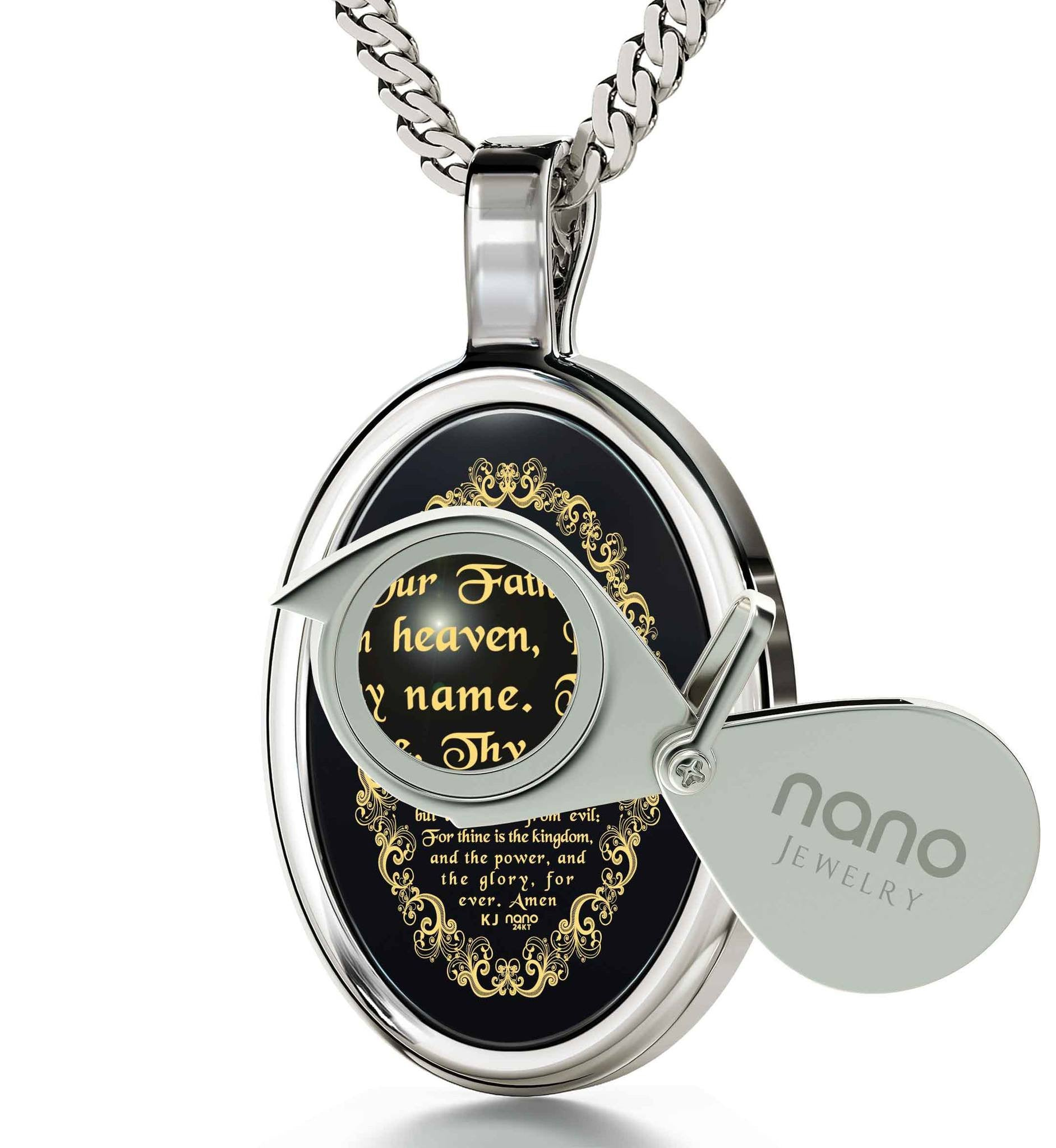 """Our Father: Prayer Engraved in 24k, Mens Christmas Ideas, Cool Gifts for Teen Boys, Nano Jewelry"""