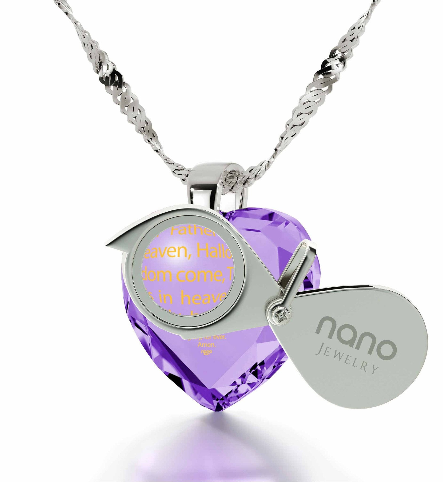 """Our Father: Sterling Silver Chain with Pendant, What to Get Girlfriend for Birthday, Gifts for Catholics """