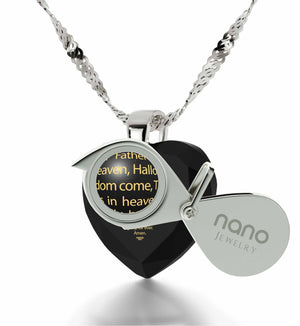 """Our Father: Crystal Heart Pendant, Xmas Ideas for Her, Cross Necklace for Girl, Nano Jewelry"""