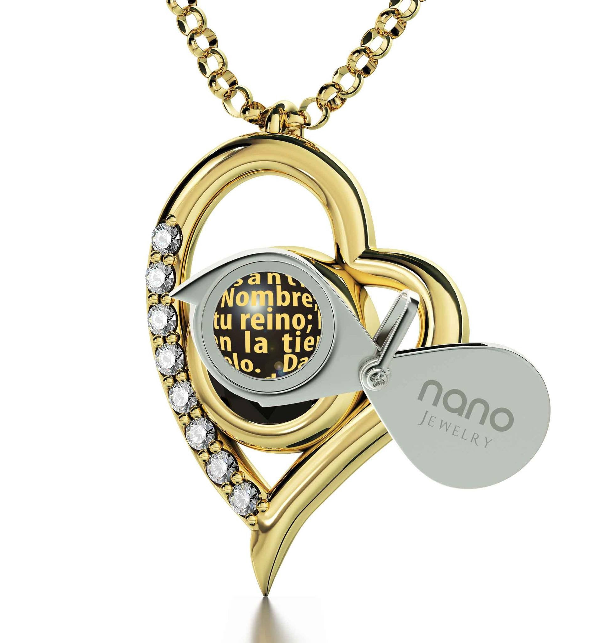 """Lord's Prayer on Pure 14k Gold Necklace, Graduation Presents for Her, Wife Birthday Ideas, Nano Jewelry"""