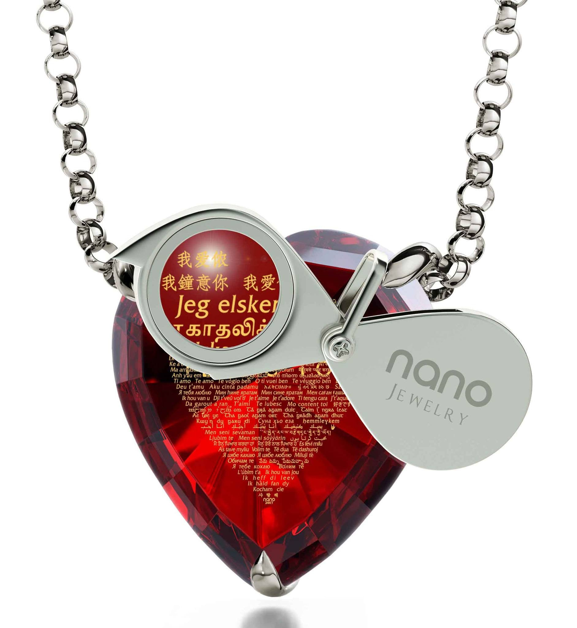 "Valentines Ideas for Her, ""I Love You"" in 120 Languages, CZ Black Heart, Good Presents for Girlfriend by Nano Jewelry"