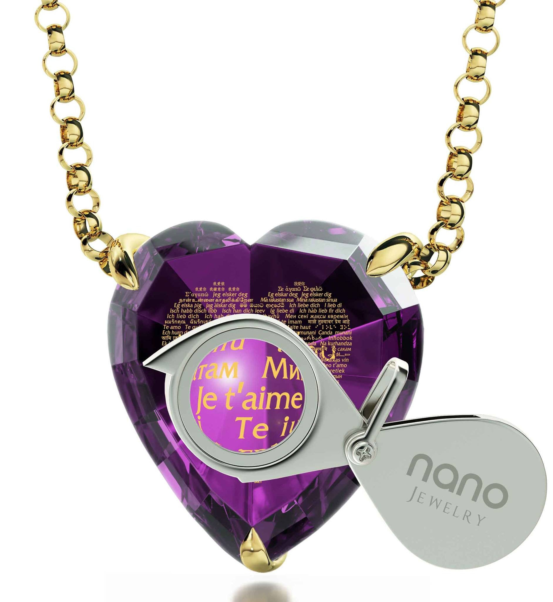 """Je T'aime"" en 120 Langues, Perfect Valentines Gift for Her, Nano Jewelry"