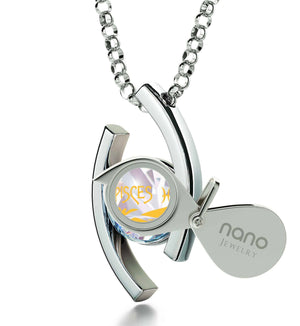 """Pisces Pendant With 24k Imprint, Good Presents for Mom, Sterling Silver Necklaces for Women, Swarovski Crystal Jewelry"""