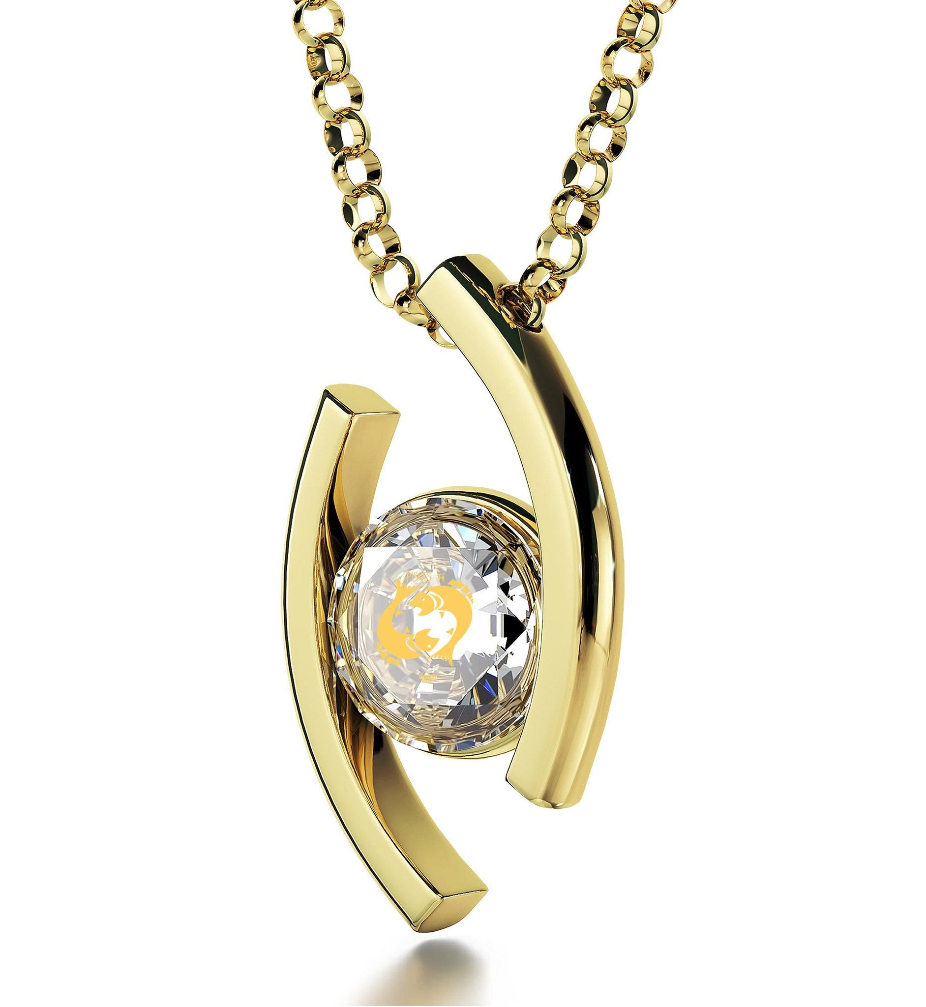 """Pisces Necklace With Zodiac Imprint, Valentines Presents for Her, Gold Jewelry for Women, Swarovski Crystal Jewelry """