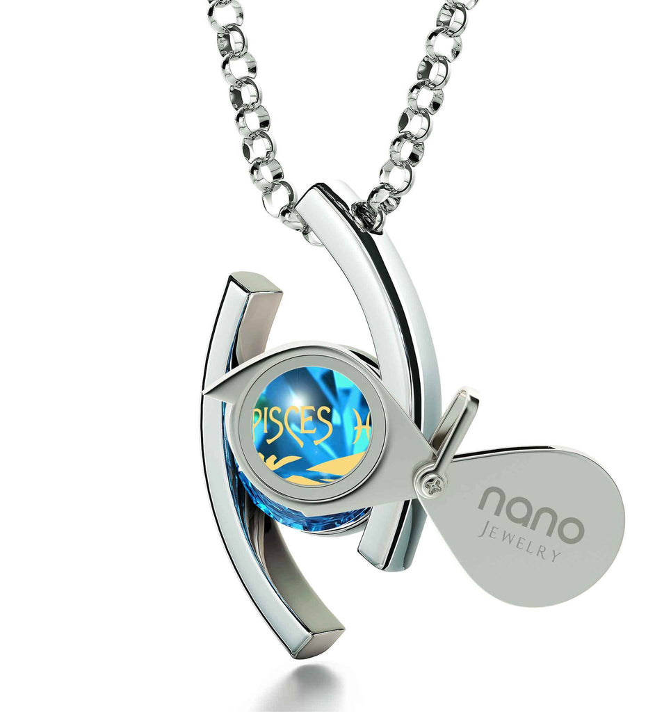 """Pisces Necklace With Zodiac Imprint, Special Gifts for Sisters, Xmas Presents for Her, Blue Stone Jewellery"""