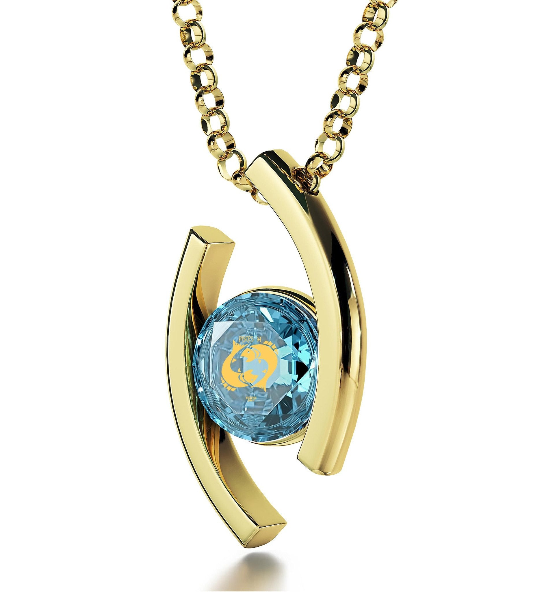 """Pisces Pendant With 24k Imprint, Good Presents for Mom, Womens Gold Necklace, Blue Stone Jewellery"""