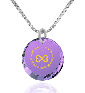 "Best Girlfriend Gifts, Sterling Silver Chain With, ""Love You Always"" Engraved over Purple Zircon, Pure Romance Products"