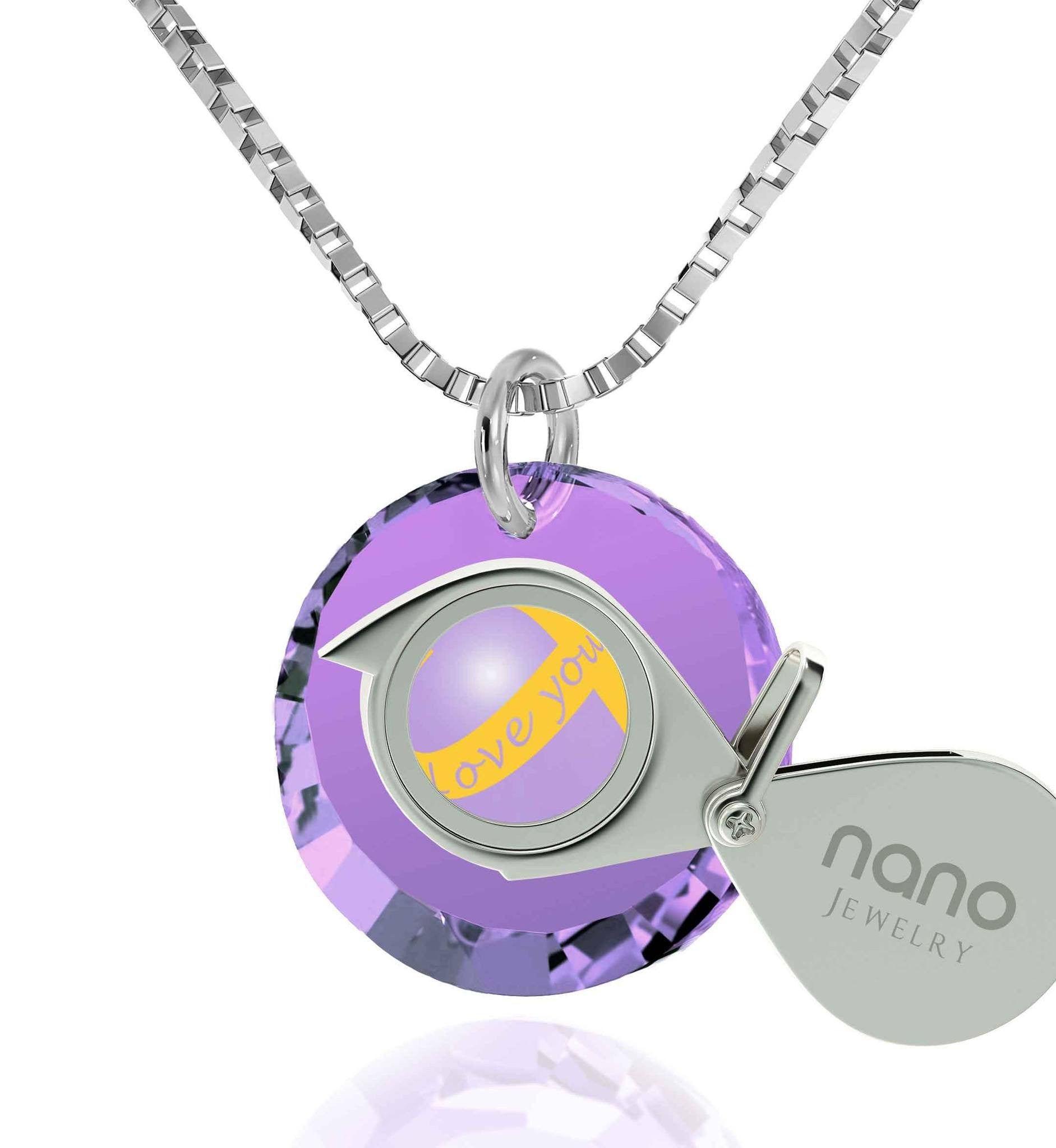 "Top Gift Ideas for Women, ""Love You Always"" Inscribed on Purple Stone, Cute Necklaces for Girlfriend, Nano Jewelry"