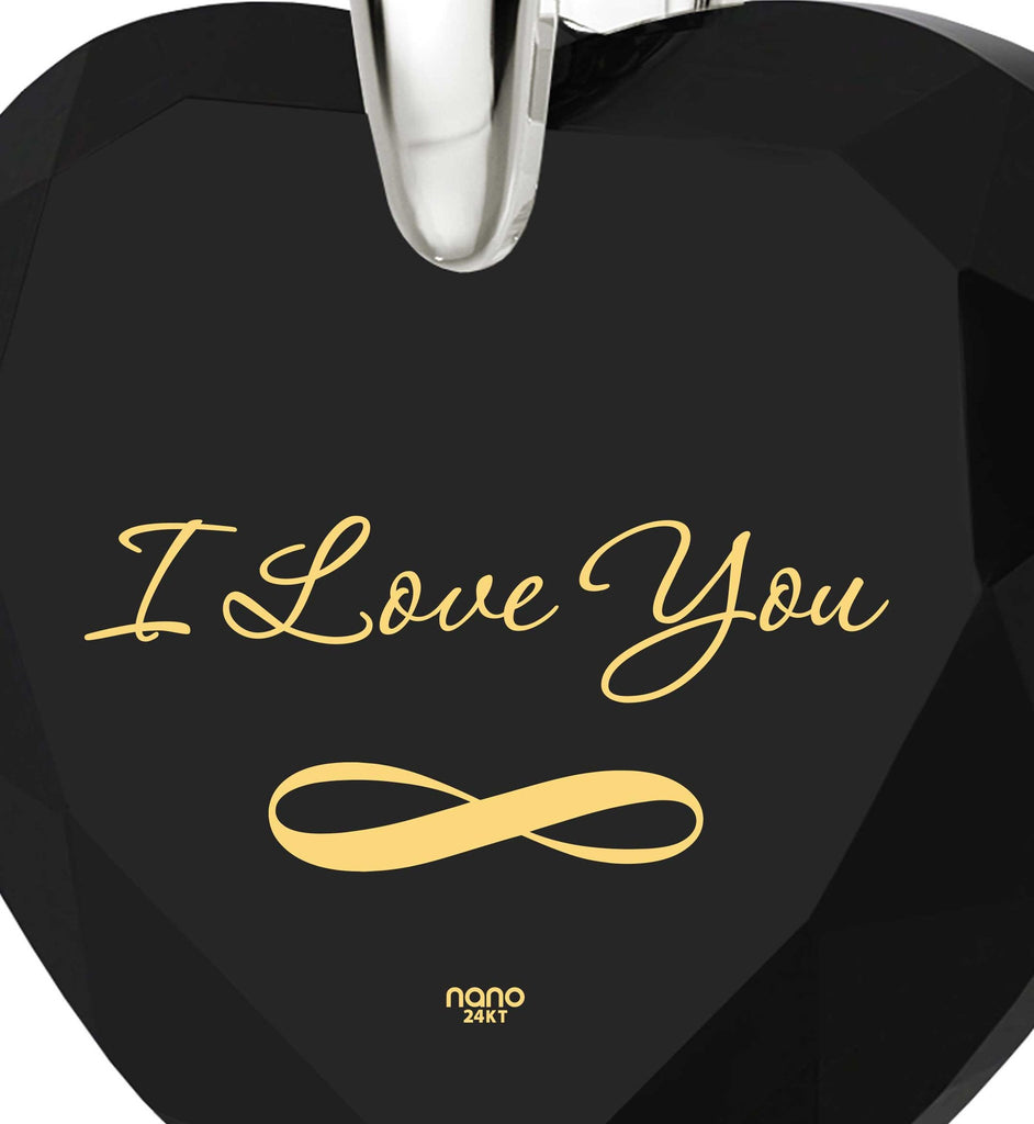 """What to Get My Girlfriend for Christmas? ""I Love You"" Infinity Heart Necklace, CZ Jewellery"""