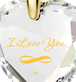 """Present for Girlfriend -""I Love You"" Infinity Necklace, Cubic Zirconia Jewelry, Christmas Gift"""