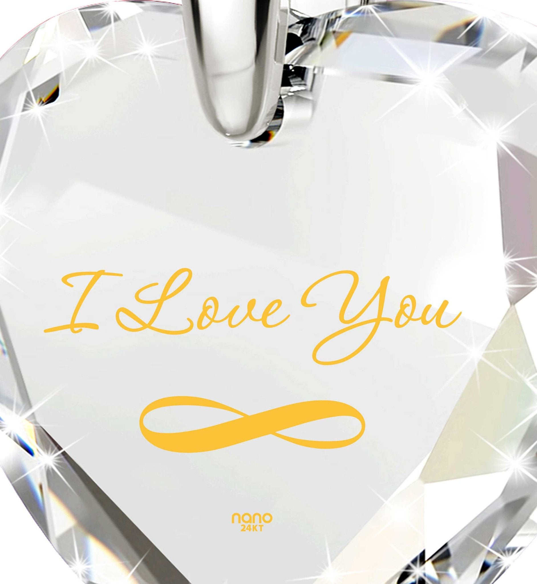 """Present for Girlfriend, ""I Love You"" Infinity Necklace, Cubic Zirconia Jewelry, Christmas Gift"""
