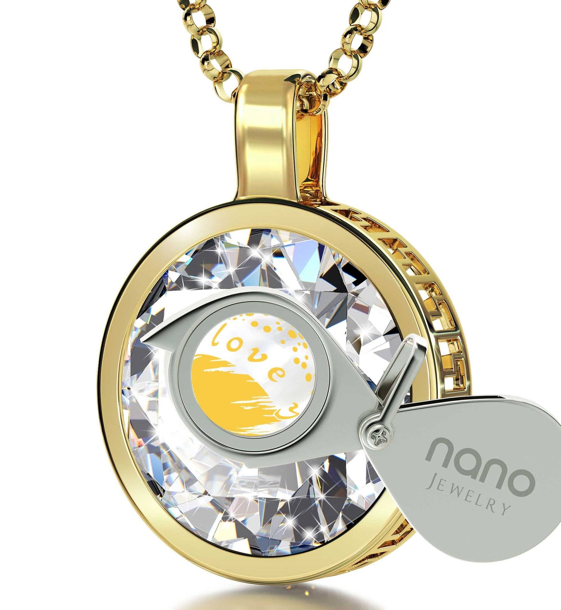 """Good Presents for Girlfriend, 24k Engraved Jewelry. Gold Filled Necklace, Great Gifts for Wife, Nano"""
