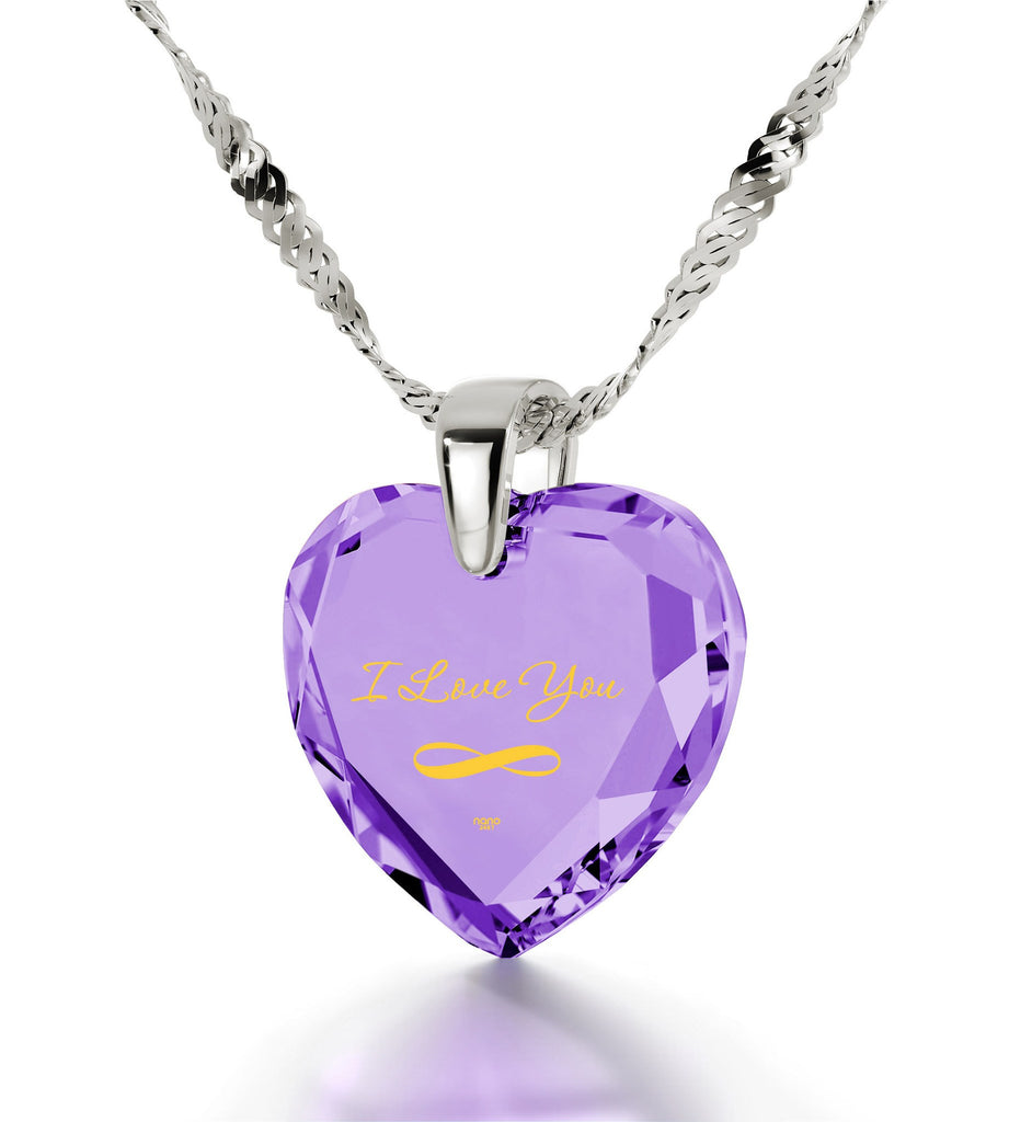 """Necklace for Girlfriend, ""I Love You"" Infinity Necklace, Cubic Zirconia Pendant, Christmas Gift"""