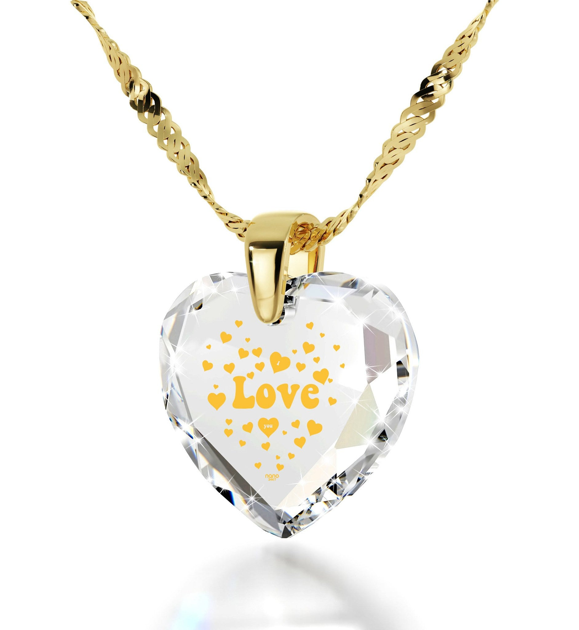 "Presents for Girlfriend,""I Love You"" Engraved In 24k Gold Christmas, Gift Ideas, Heart Necklace"