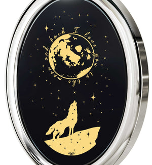 "Best Valentine Gift for Her,""I Love You to the Moon and Back"" Jewelry, Engraved In 24k on Onyx 14k Gold"