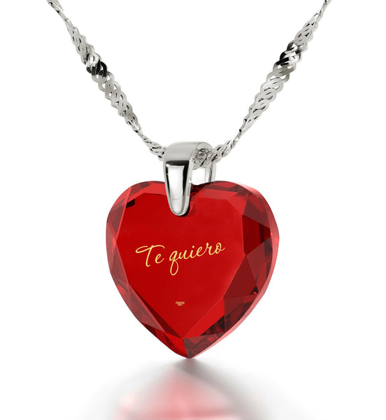 "Presents for Girlfriend,""TeQuiero""- I Love You in Spanish, Birthday Gift For Her, Red Cubic Zirconia Jewelry"