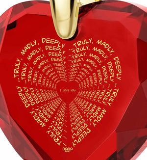 """Great Anniversary Gifts for Her, Womens 14k Gold Necklace, CZ Red Heart, Girlfriend Christmas Presents By Nano Jewelry"""