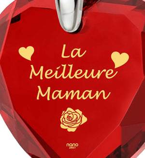 """Good Presents for Mom, ""La Meilleure Maman"", 14k White Gold Jewelry for Women, Christmas Gifts for Mothers"""