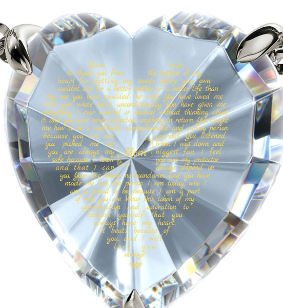 Presents for Mom Christmas, Necklaces with Meaning, CZ White Heart, Best Gift for Mother's Day